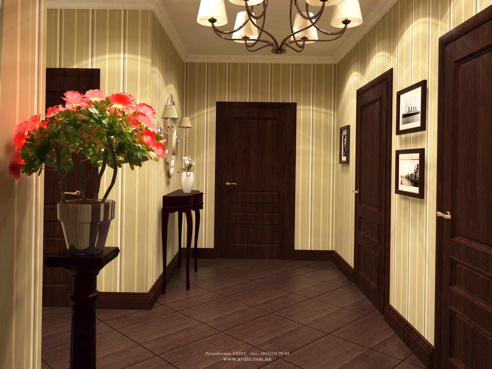 Дизайн прихожей в частном доме обои